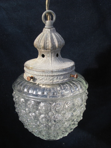 old glass shade bubble pendant light fixture vintage cast metal hanging lamp