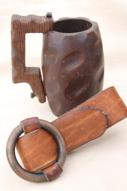 old hand carved wood mug, rustic medieval faire wine cup w/ waist belt loop