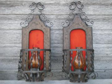 Old Mexico carved wood & iron wall niche candle sconces, amber shades