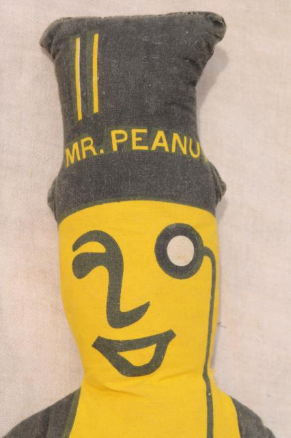 old printed cloth doll Mr Peanut Planters peanuts vintage advertising