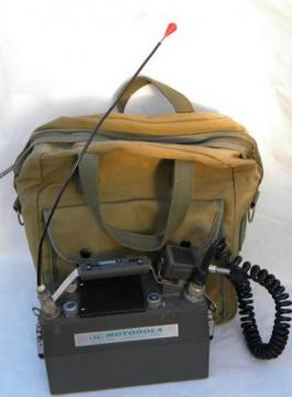 Old PX-300 Handie-Talkie lunchbox radio transceiver w/ canvas bag