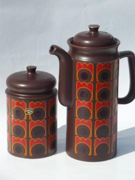 Op-art mod dots 60s vintage English matte pottery coffee pot and canister