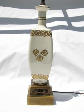 Oriental white / gold china vase table lamp, 70s vintage asian modern