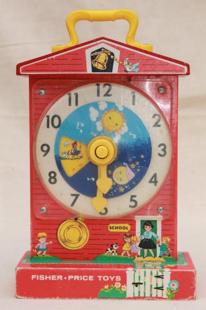Mid century modern furniture reproductions - Original 60s 70s Vintage Fisher Price Toy Schoolhouse Clock Teaching