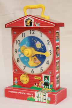 original 60s 70s vintage Fisher Price toy schoolhouse clock teaching time music box