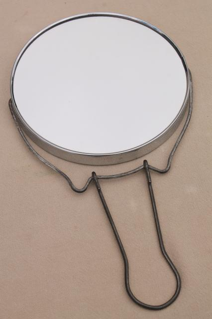 original box 1950s vintage shaving mirror / magnifying makeup mirror with wire stand