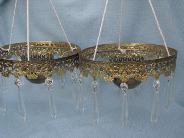 Ornate gold lamp bobeches w/glass prisms, vintage light shade brackets