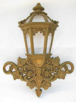 Ornate gold porch light sconce wall pocket planter, retro Homco plastic