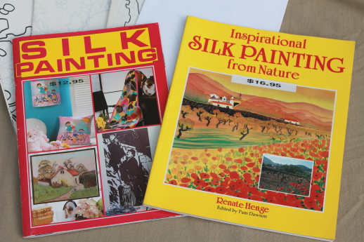 Out of print textile art books lot, Japanese silk painting paint on silk fabric