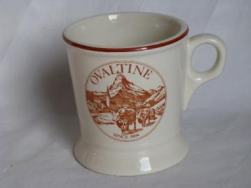 Ovaltine malt advertising, heavy stoneware cocoa mug