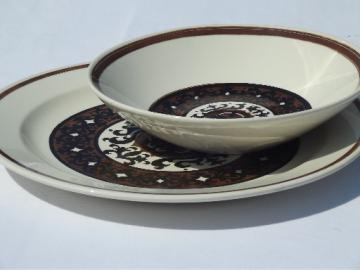 Overture in brown and black, 60s 70s vintage Royal Cavalier ironstone bowl & platter