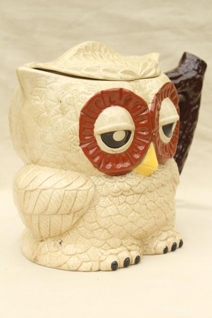 & owl family pitcher u0026 mugs retro 70s vintage handmade ceramic tableware