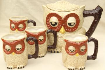 owl family pitcher & mugs, retro 70s vintage handmade ceramic tableware