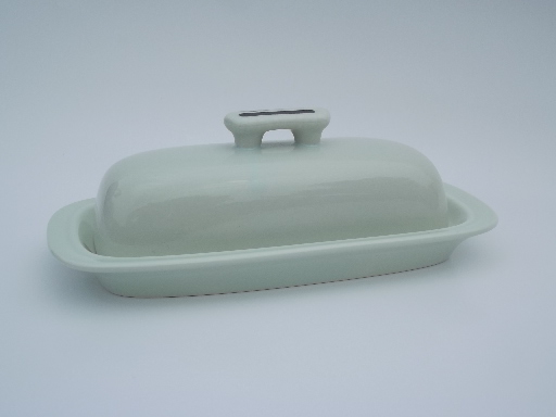 Oyster White w/ black vintage 80s Japan stoneware covered butter dish