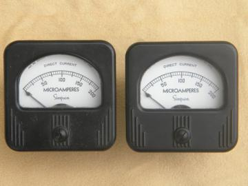 Pair 1930s Simpson industrial panel meters DC microamps deco cases
