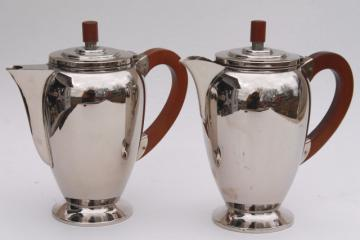 pair art deco mid-century vintage chrome coffee & tea pot w/ mod wood handles