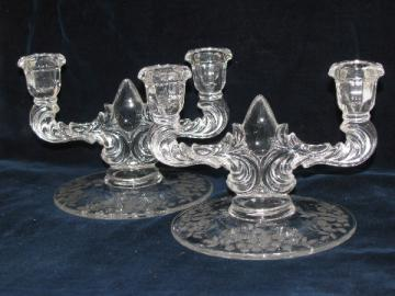 Pair branched candlesticks, vintage etched or wheel-cut floral chintz glass