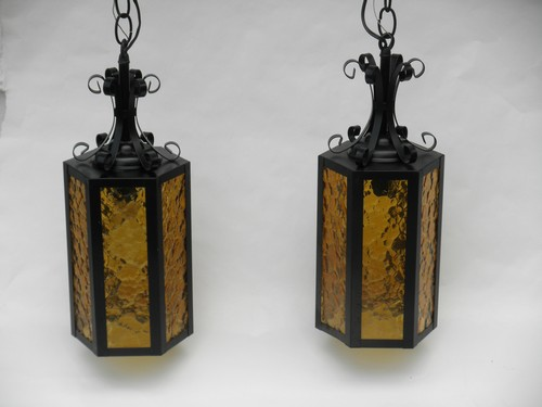 Pair Of 1960s Vintage Gothic Hanging Lights Wrought Iron