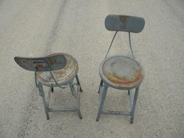 Pair of industrial machine-age vintage metal studio loft or factory shop stools