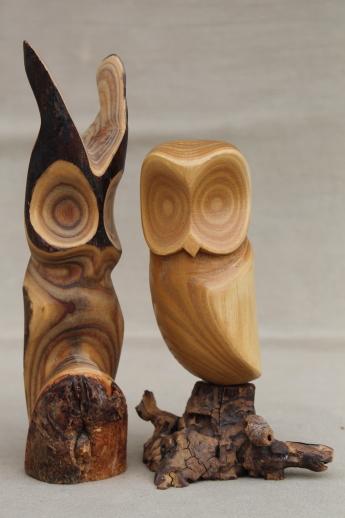 Pair of owls vintage rustic modern abstract wood carvings