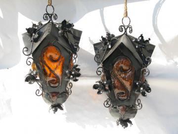 Pair of retro vintage gothic medieval hanging lanterns lights w/hand blown amber glass