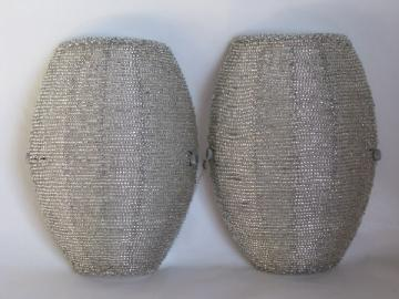 Pair of slip shade wall sconce lights, beaded silver glass lamp shades