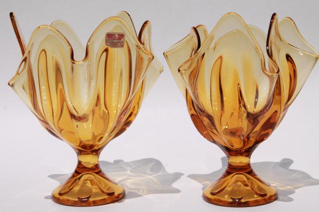 Pair Retro Flame Shape Amber Glass Vases 60s 70s Vintage Viking
