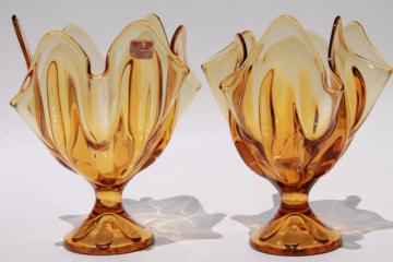 pair retro flame shape amber glass vases, 60s 70s vintage Viking glass Epic line