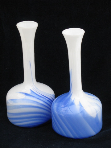 Pair Tall Mod Bottle Vases Vintage Milk Glass W Cobalt Blue Swirl