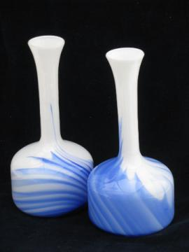 Pair tall mod bottle vases, vintage milk glass w/ cobalt blue swirl