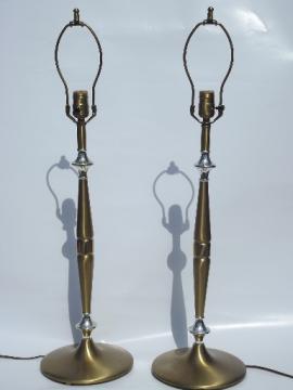 Parzinger era brass table lamps pair, mid-century vintage Empire labels