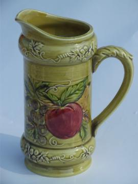 Pear and apple vintage Lefton china milk pitcher, harvest fruit on green-gold