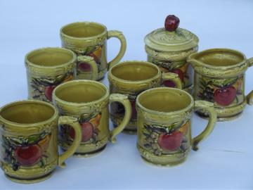 Pear & apple vintage Lefton china mugs & cream / sugar, harvest fruit