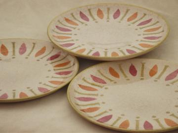 Pepe Red Wing pottery dinner plates, 60s mod  design in pink, orange, lime!