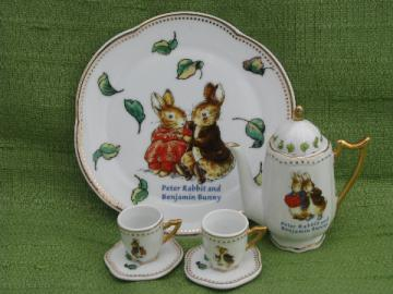 Peter Rabbit & Benjamin Bunny doll size porcelain tea set for Easter