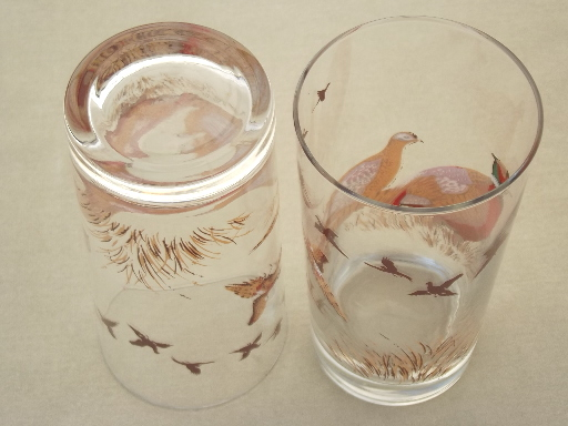 Pheasant drinking glasses, Libbey glass tumblers set w/ pheasants decal