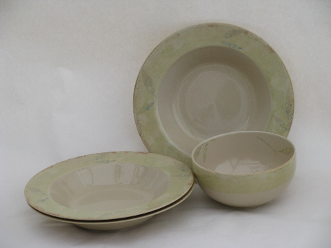 pier  antiqued pattern pottery dinnerware dishes lot cereal soup bowls