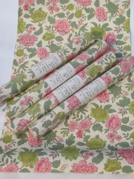 Pink Chinese peony floral wallpaper, vintage chinoiserie print paper
