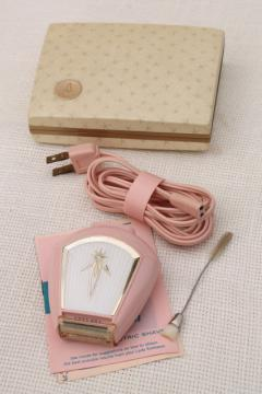 pink plastic Lady Sunbeam electric shaver, retro vintage razor in original box