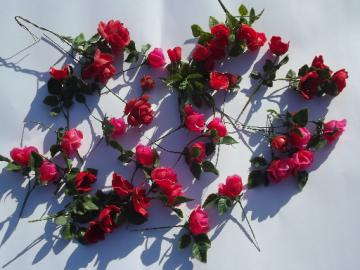 Pink & red plastic roses, lot vintage fake flowers for display arrangements
