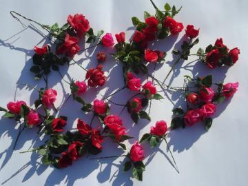 Pink & red plastic roses, lot vintage fake flowers for display arrangements