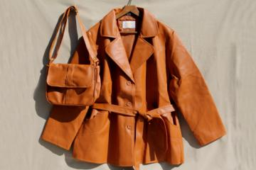 Plus size vintage ladies leather look leatherette belted jacket & shoulder bag