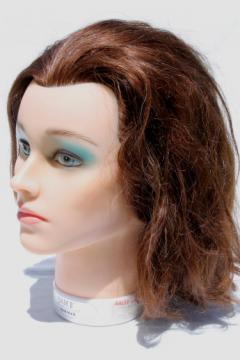 Pretty brunette mannequin head photo prop model Sam II stylist's head w/ human hair