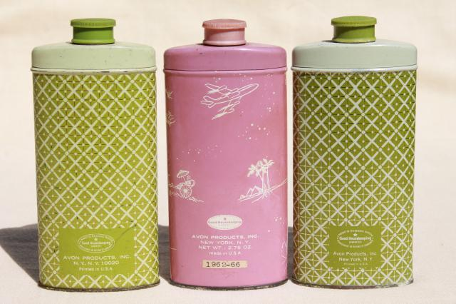 pretty flowered vintage tins, 60s Avon Somewhere perfumed talc talcum powder shakers