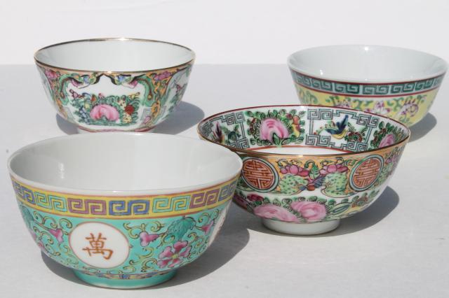 Pretty Mismatched Porcelain Rice Bowls Soup Bowls For