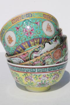 pretty mismatched porcelain rice bowls, soup bowls for noodles, vintage china dishes