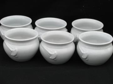 Pure white china rice or soup bowls, individual pots w/ ginkgo leaf handles