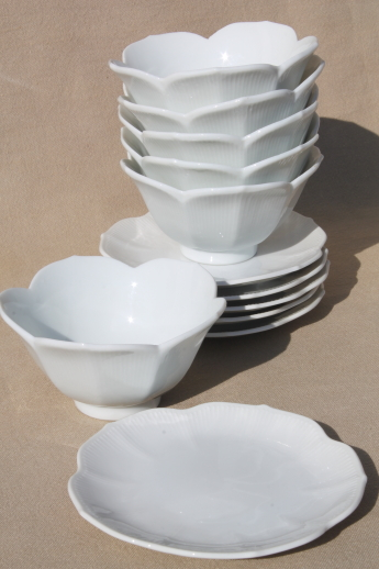 Pure White Porcelain Rice Bowls Set Of 6 Lotus Flower