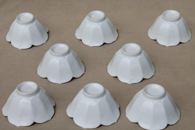 pure white porcelain rice bowls, set of 8 lotus flower ...