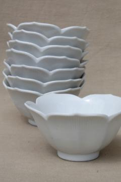 pure white porcelain rice bowls, set of 8 lotus flower bowls noodle dishes